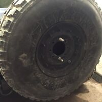 """MILITARY HUMVEE SPARE TIRE WITH 12 BOLT RIM 37"""" GOODYEAR MT M998 HMMWV HUMMER"""