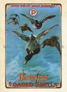 1920 Peters Cartridge Peters Loaded Shells metal tin sign home decor artwork
