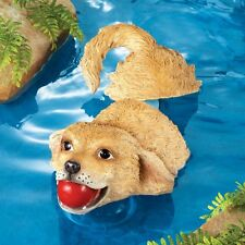 Adorable Golden Retriever Pup Dog Fetching Pond Pool Floater Garden Statue