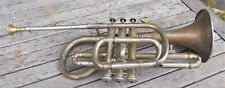 Antique brass trumpet, french, musical instrument by Couesnon, Paris