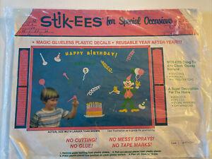 NEW! Vintage STIK-EEZ Window Clings Seasonal Decals Happy Birthday