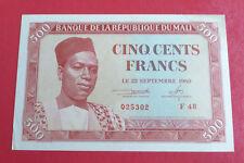 500 Frs Banque de la République du Mali 22/09/1960 tâche coin haut à droite