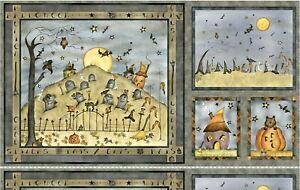 "Halloween On Broom St. Cotton Fabric Quilt Panel 23"" x 44"""