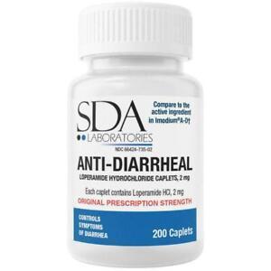 Loperamid Anti-Diarrheal 200 Caplet Bottle 2mg MADE IN USA BY SDA LABS FREE SHIP