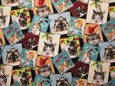 CATS CRAZY CAT BLOCK ANIMALS FISH FLOWERS MORE COTTON FABRIC 4 1/2 Inch Scrap