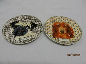 "Gien France "" Darling Dog  ""   2 Konfiserieteller -Dagobert und Igor 12,8 cm"