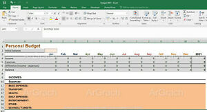 Personal Budget 2021 Excel Spreadsheet Personal Yearly Budget Money Saving Expen