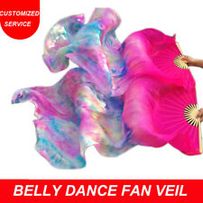 New Arrivals Belly Dance Fan Veil 1 Pair 100% Silk Tie-dye Color US Shipping