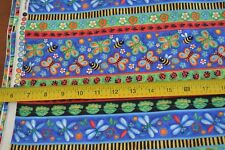 """By 1/2 Yd, Multi Bug Stripes on Quilting Cotton, Blank/""""Bugging Out""""/6013, M8389"""