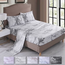 "Super Soft Bed Sheet Set 16"" Deep Pocket Marble Printed Fitted Bedding Sheets"