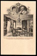 1910 KING EDWARD VII & QUEEN ALEXANDRA HOTEL ROOM PRINZ CARL HEIDELBERG POSTCARD