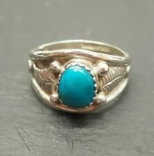 LADIES NATIVE AMERICAN SOLID SILVER RING WITH STONE 17.5MM DIAMETER
