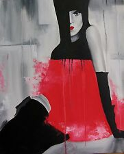 Lady in Red, oil painting, canvas, abstract, modern art, original painting, 1/1