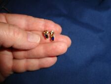 Vintage 10k Yellow Gold Blue Sapphire earrings 1.2 grams