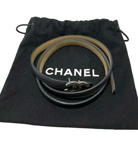 CHANEL BLACK LEATHER SKINNY BELT WITH QUILTED BUCKLE, 75/30