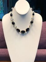 Faceted Glass Crystal Aurora Borealis Vintage  Necklace  Black Clear Gold 16+ ""