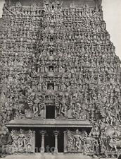 1928 Original INDIA Madura Great Temple South Tower Sculpture Photo By HURLIMANN