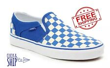 Vans Asher Slip On Sneakers Women Casual Skate Shoes Checkered Blue Cobalt White