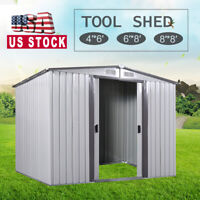 4'x6'/6'x8'/8'x8' Outdoor Garden Storage Shed Utility Tool House Sliding Door