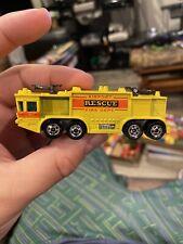 Vintage Hot Wheels 1979 Airport Rescue Fire Dept Truck Yellow Hong Kong Nice