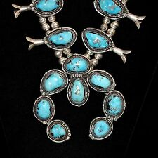 Sterling Silver & Turquoise Navajo Squash Blossom Necklace, Old Pawn/Estate