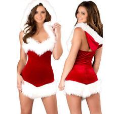 Fancy Christmas Dress Soft Xmas Hoodies Cosplay Santa Party Sexy Short Collar