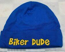 BIKER DUDE Blue Yellow Skull Cap Beanie Toddler Hat 6-9 Months Gerber
