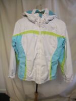 Girls Ski Jacket Trespass size 158/164, age 13/14, white & aqua/lime trims 8327