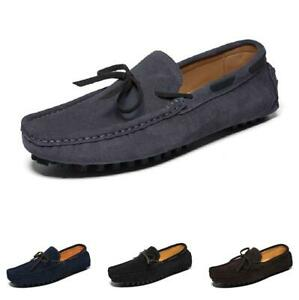 Retro Mens Driving Moccasins Shoes Bowknot Slip on Pumps Breathable Flats Soft L