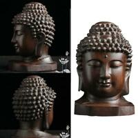 6CM Chinese Wood Carved Shakyamuni Amitabha Buddha Tathagata Head-StatueCraft