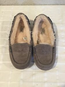 Ugg Grey Suede Sheepskin Moccasin Women's Sleepers 6 US