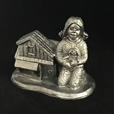 Michael Ricker PEWTER Christmas Gift Statue 2009 Little GIRL Doll & Doll House