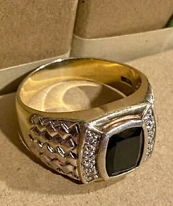 Designer SETA Men's Onyx Gold Overlay Sterling Silver 925 Ring sz 13 ~ 11 Grams