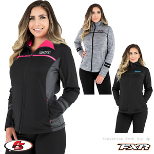 NEW 2021 FXR Women's Elevation Tech Fleece Zip Up Black/pink/skyblue/greyplum