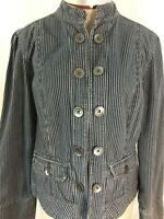 George blazer jacket blue gray striped Size L 14 long sleeve denim