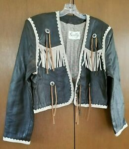 Scully Vintage Leather Jacket, Western Fringe, Brown Beige, Women's Large