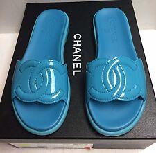 Chanel 17S Turquoise Patent Leather CC Logo Slides Mules Flats Shoes 37.5 NIB