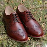 Handmade Brogue Shoes Mens Burgundy Oxford Casual Semi Formal Calf Leather Shoes