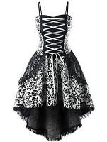 Gothic Prom Dress Black VTG Steampunk Victorian Lace Up Evening Formal XL-5XL