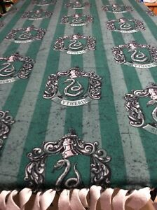 """Fleece Knotted Tied Blanket - Slytherin Crest - Harry Potter -Throw  70"""" X 58"""""""