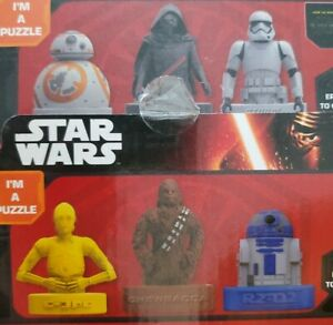 Disney STAR WARS THE FORCE AWAKENS PUZZLE ERASERS KYLO REN YOU BUILD IT set of 6