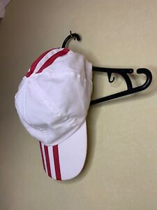 Adidas Vintage Mens Cap Hat White Red Stripes Cotton One Size