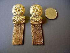 Vintage Trifari Signed Marcella Saltz Earrings Stud Gold Tone Chain Dangles