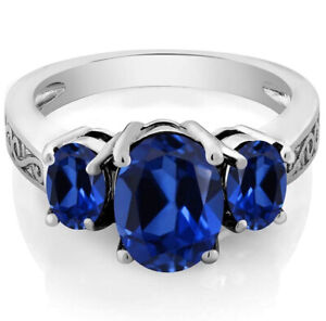 Amazing 18k White Gold Plated Blue Sapphire Tri Stone Ring, Women's Fancy Ring