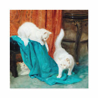 Heyer Cats Playing Painting Large Wall Art Print Square 24X24 In