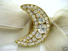 18k Gold Plate Moon Swarovski Element Austrian Crystal Rhinestone Brooch Pin