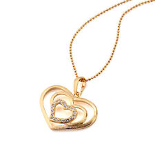 18k Gold Filled Fashion Heart Pendant Necklace with Crystal stone