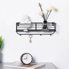 Metal Wall Storage Container Shelf Rack with Hooks Seamless Mounting Nail-Black