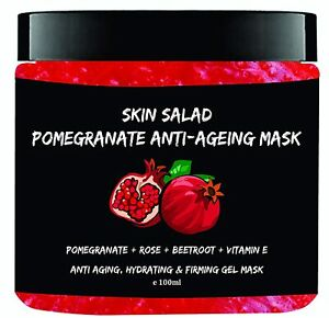 SkinSalad Pomegranate Anti Aging Gel Face Mask with Beetroot, Rose and Vitamin-e