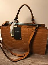 CLAUDIA FIRENZE LEATHER TOTE/OVER SHOULDER HANDBAG-BROWN-NWT